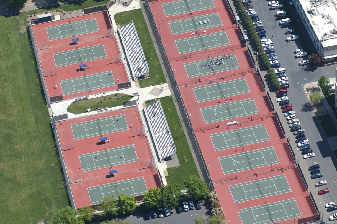 Aerial view of the UC Davis tennis courts. Jim Con Rummelhoff