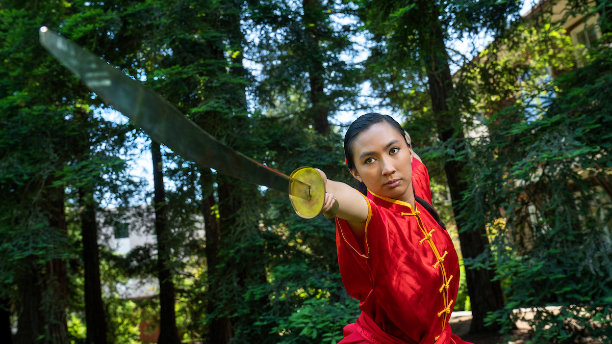 Emily Eijansantos performs Wushu martial arts.