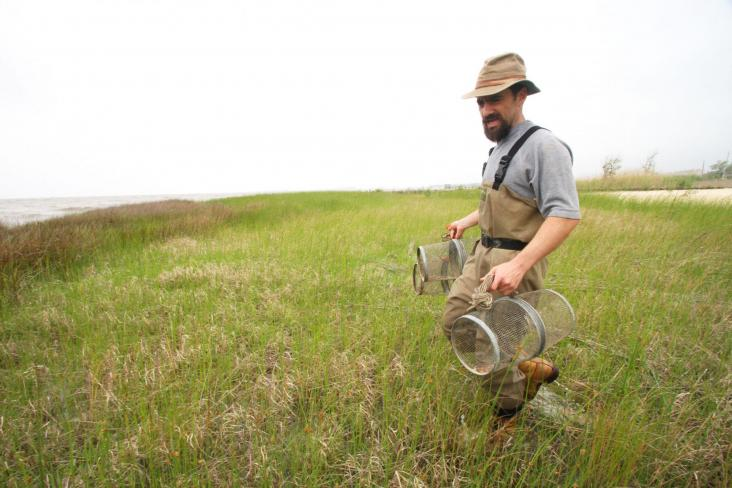 Andrew Whitehead carries minnow traps