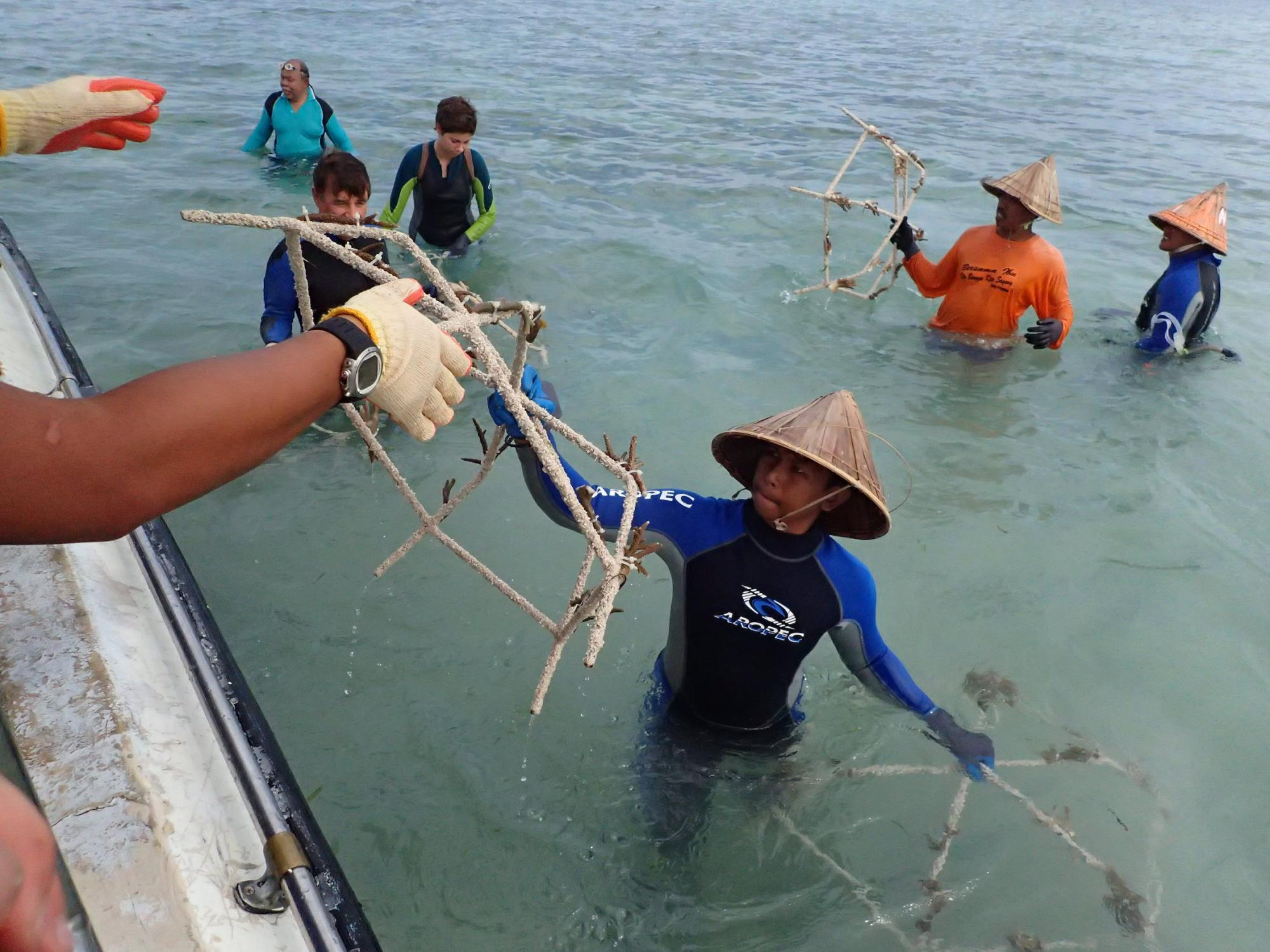 "Local residents help prepare ""spiders,"" structures for coral reef rehabilitation"