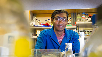 Top graduate Srujan Kopparapu is headed for medical school and a career in a neural-related field. (Karin Higgins/UC Davis)