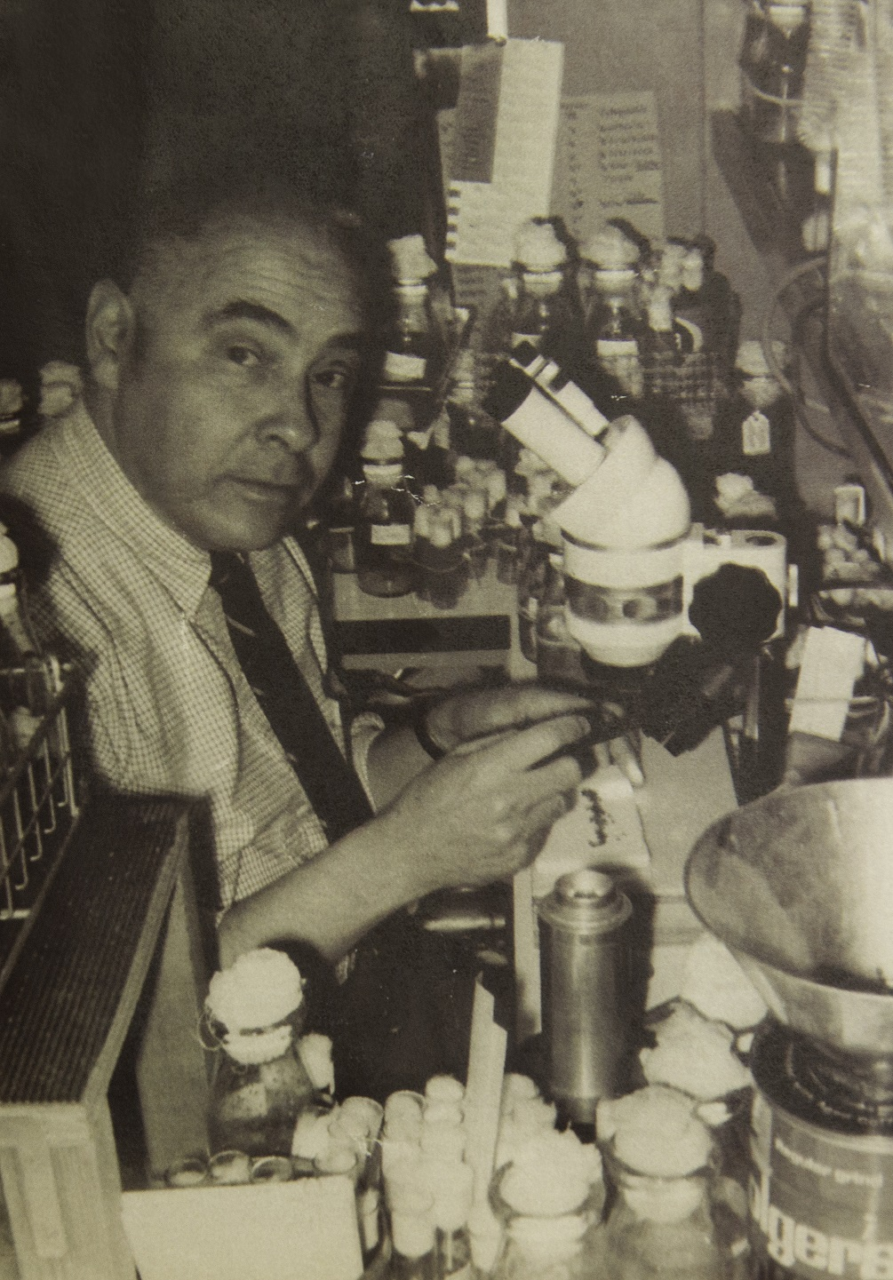 The lab bench was a favorite spot of Mel's, as evidenced by this photo of him taken in January 1967. Courtesy photo