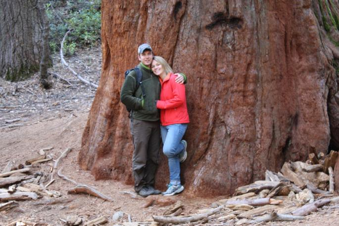 Cody Markelz and Sharon Gray in Yosemite's Merced Grove of Giant Sequoias. Photo by Gray's father, Thomas Gray I.