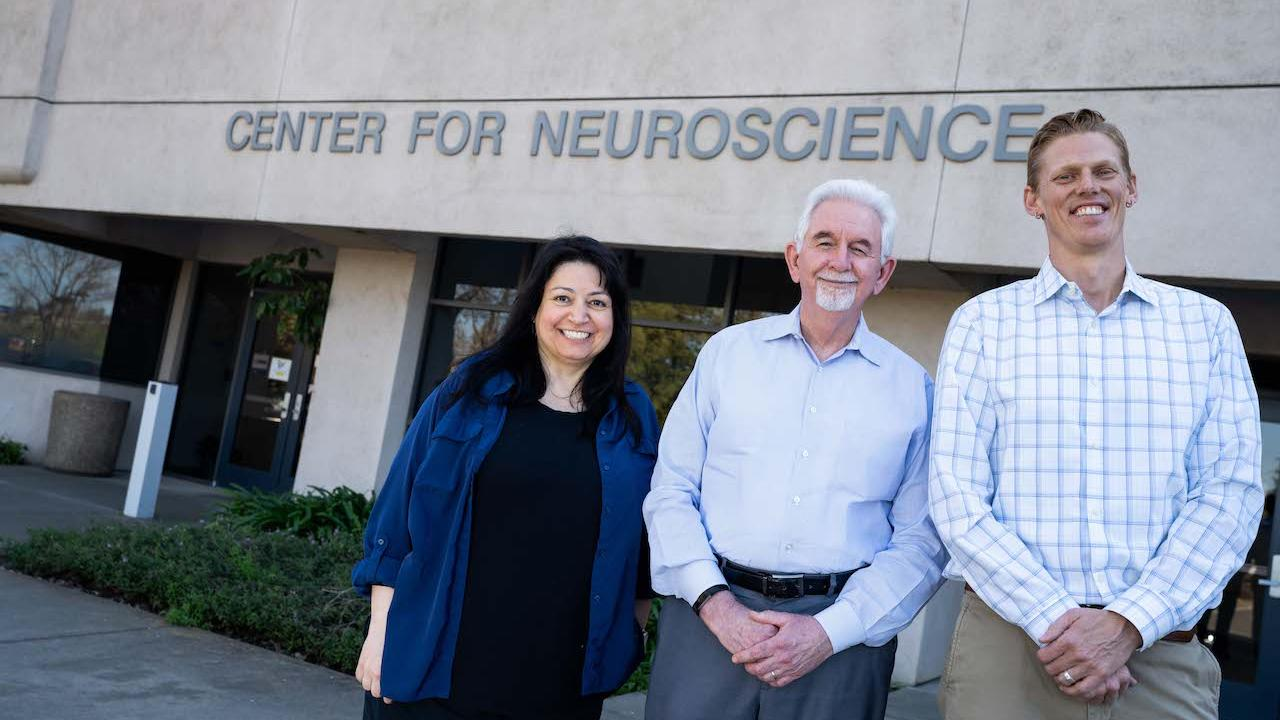 Fioravante, Cameron and Nord outside the Center for Neuroscience