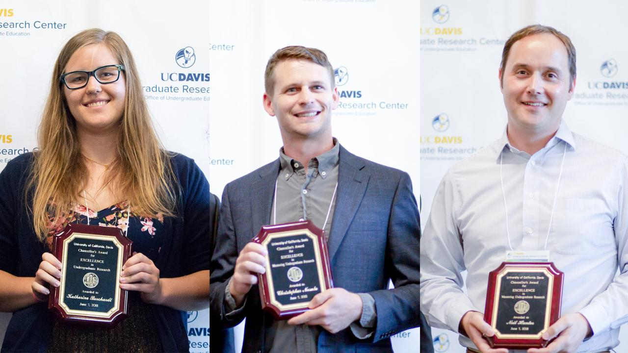Undergraduate student Kate Borchardt, graduate student Chris Nosala and faculty member Neil Hunter stand with their plaques for the Chancellor's Award for Excellence in Undergraduate Research. Daniel Oberbauer