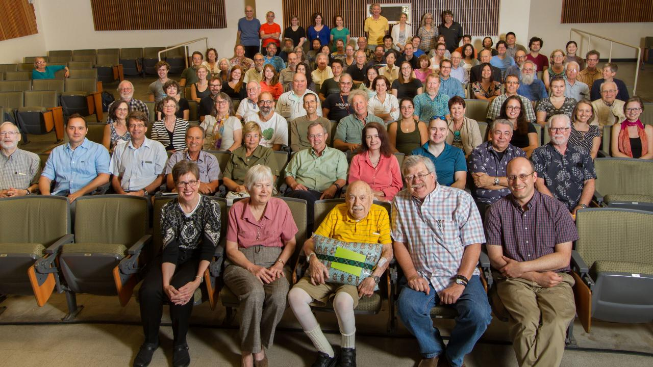 In August 2016, a crowd gathered to celebrate Mel Green's 100th birthday, with lunch and a special Storer Endowment seminar on fly genetics presented by University of Iowa Professor Pamela Geye. Geye became a collaborator of Green's during her postdoctoral studies. David Slipher/UC Davis