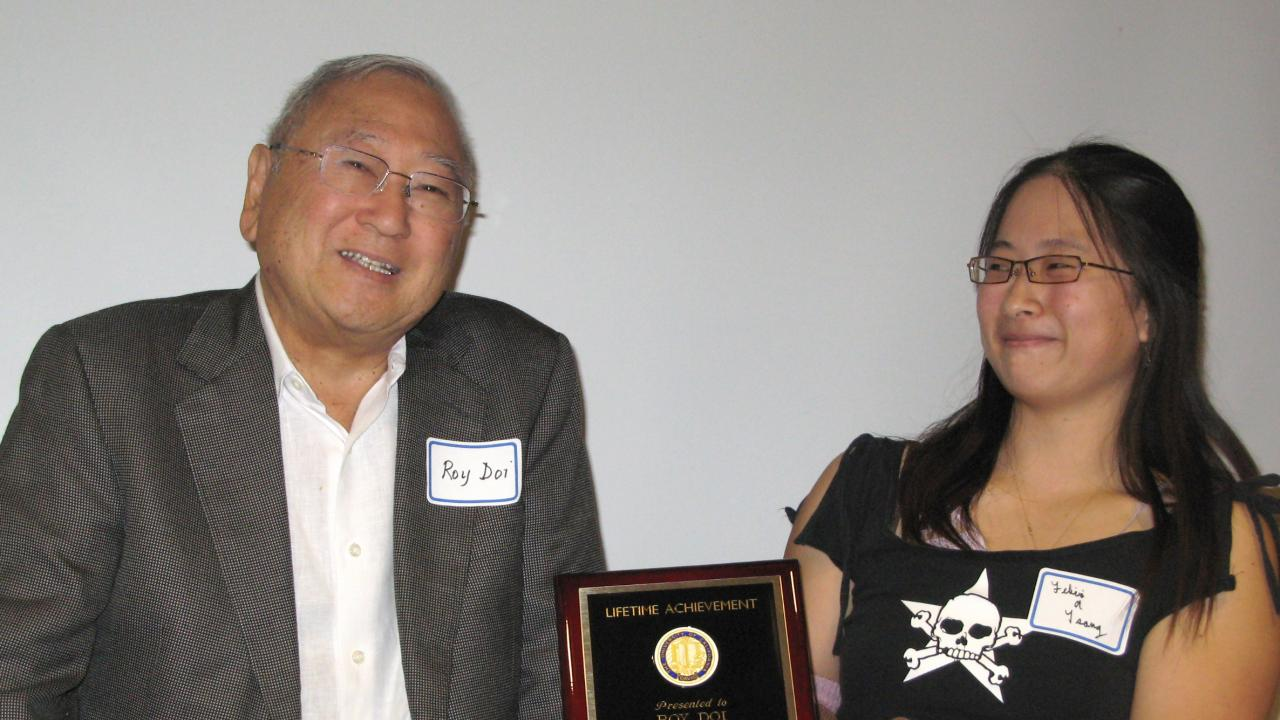 Roy Doi receives a lifetime achievement award at the UC Davis Biochemistry and Molecular Biology Colloquium in 2008. Courtesy photo