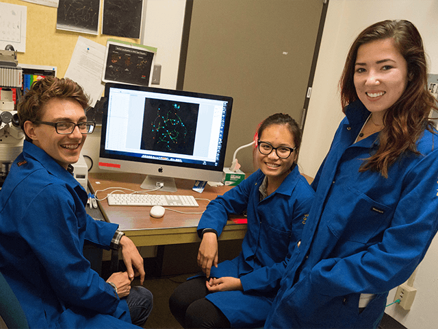Students analyze mutant mouse cells in the Hunter Lab