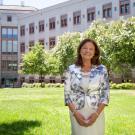 Lin Weaver stands in the courtyard outside the Life Sciences Building. David Slipher/UC Davis