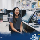 UC Davis global disease biology major Amanda Nguyen conducting lab work at the National Institute of Genetics in Mishima, Japan.