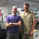Marc Pollack, left, and Jeremy Warren at IndieBio in San Francisco. IndieBio is a startup accelerator in San Francisco. After a four-month program, Pollack and Warren will present AstRoNA Biotechnologies, Inc., to potential investors at IndieBio's Demo Day this summer. Credit: UC Davis